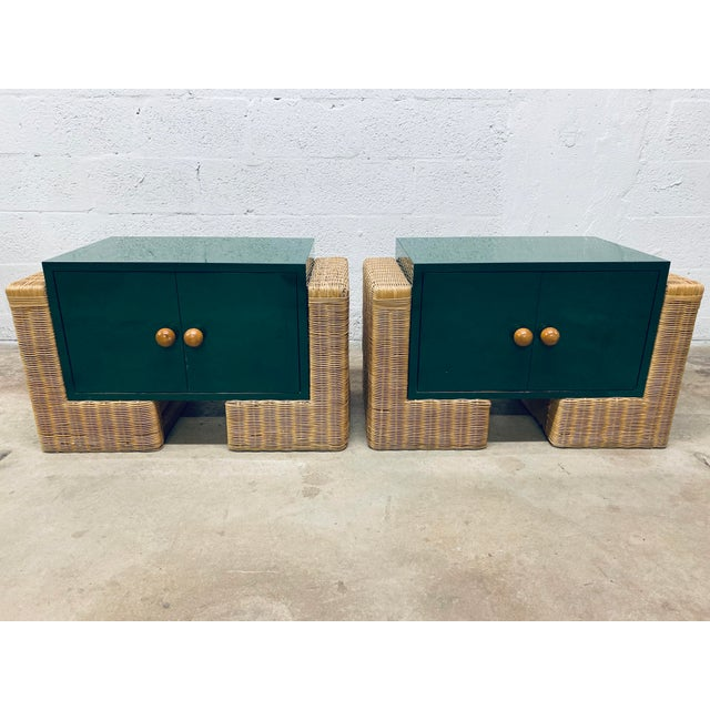 Mid Century Modern Rattan Nightstands, 1970s - a Pair For Sale - Image 12 of 12