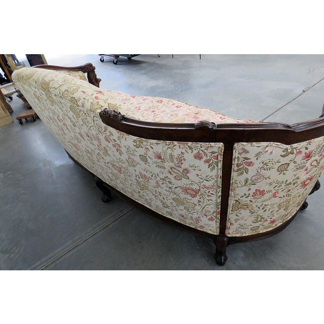 Textile Carved Victorian Sofa For Sale - Image 7 of 9
