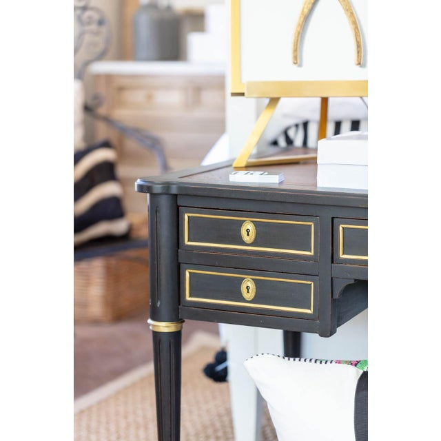 Empire Black Writing Desk With Original Tooled Leather Top For Sale In Wichita - Image 6 of 7