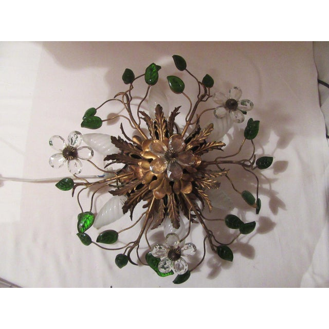 C. 1950's Mid Century Authentic French Maison Bagues Ceiling Mount Light Fixture For Sale - Image 12 of 13