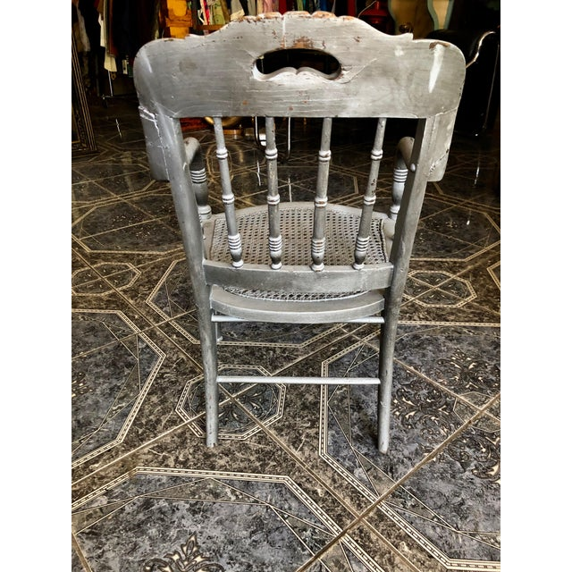 1940s Vintage Shabby Chic Lilac Wood and Cane Accent Chair For Sale - Image 9 of 13
