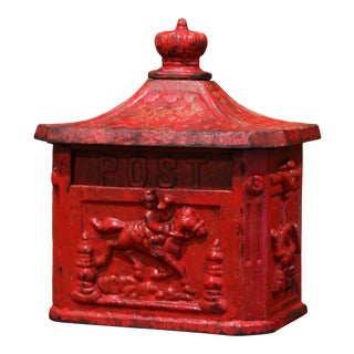 19th Century English Red Painted Cast Iron Mailbox With Relief Decor For Sale