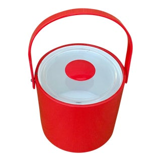 1960s Georges Briard Red Ice Bucket For Sale