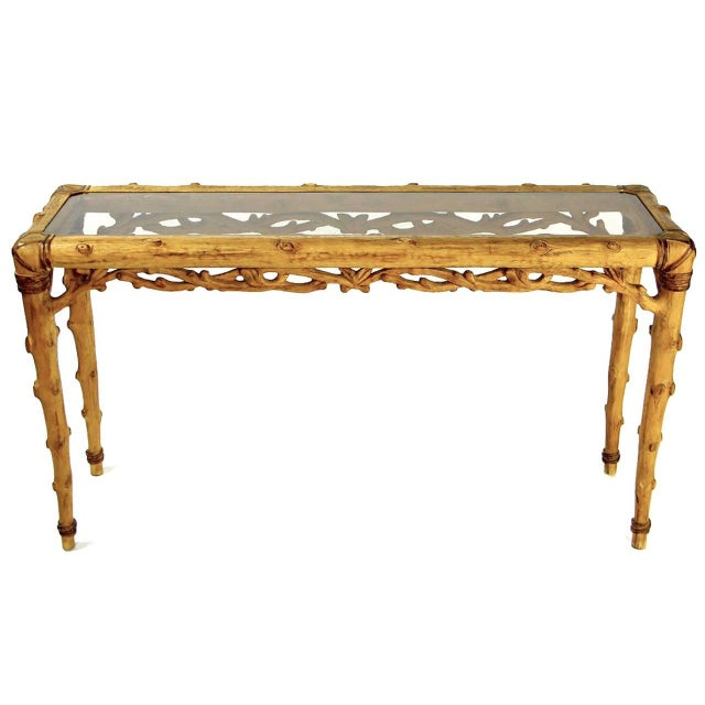 Mid-Century Modern Faux Bois Carved Wood and Glass Console Table For Sale - Image 3 of 10
