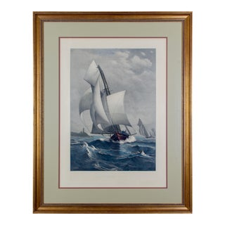 1885 A Winning Yacht, Engraving Print After J.O. Davidson