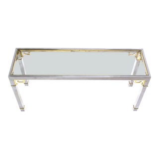 20th Century Hollywood Regency Mastercraft Chrome Brass and Glass Greek Key Console Table For Sale