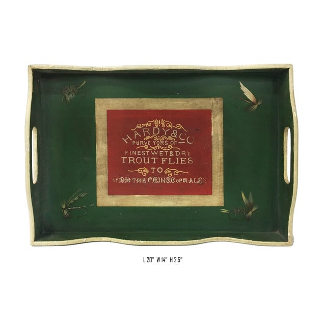 Vintage English Green Rectangular Wooden Tray For Sale - Image 4 of 5