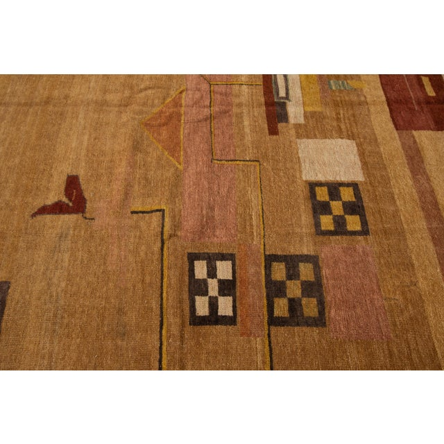 Vintage Art Deco Style Square Wool Rug For Sale - Image 10 of 13