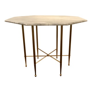 Custom Honed Marble and Brass Modern Octagonal Foyer Table/Center Table For Sale