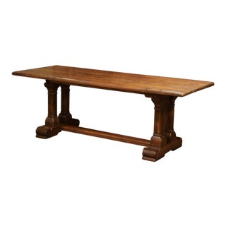 Mid-20th Century French Louis XIII Carved Oak Double-Leg Pedestal Farm Table For Sale