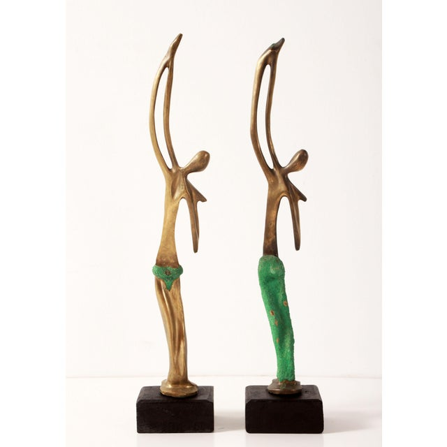 Mid-Century Modern Modernist African Bronze Figural Sculptures From Angola - a Pair For Sale - Image 3 of 11