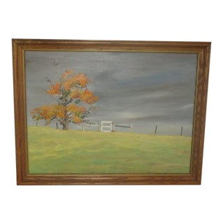 Vintage Surrealist Midwest Landscape Painting by Raymond Hosford For Sale
