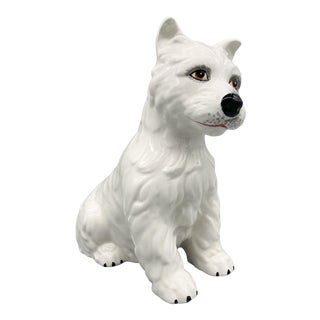 20th Century Italian White Ceramic Westie- West Highland Terrier- Dog For Sale