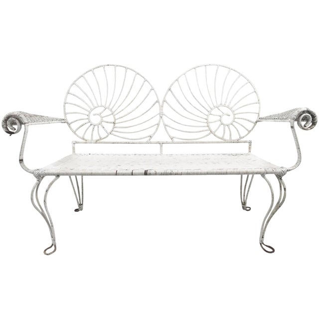 Nautilus Shell Back Wicker and Iron Garden Bench For Sale