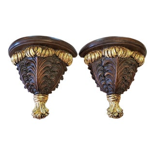 Gilt Floral Wall Brackets or Shelves - a Pair For Sale