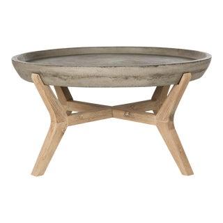 Indoor & Outdoor Modern Concrete Round 18.1-Inch H Coffee Table in Dark Grey