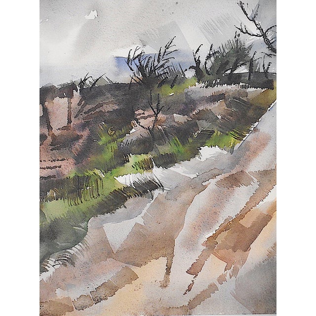 Modern Original Vintage Mid 20th C. Modern Watercolor-Carl Zimmerman-Coastal View For Sale - Image 3 of 9