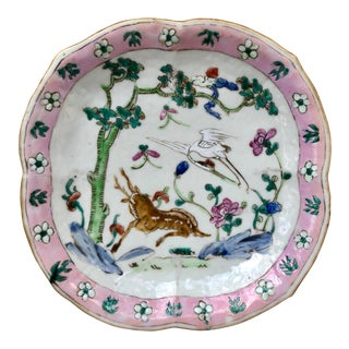 Antique Chinese Famille Rose Footed Pedestal Pastel Pink Dish With Deer and Crane For Sale
