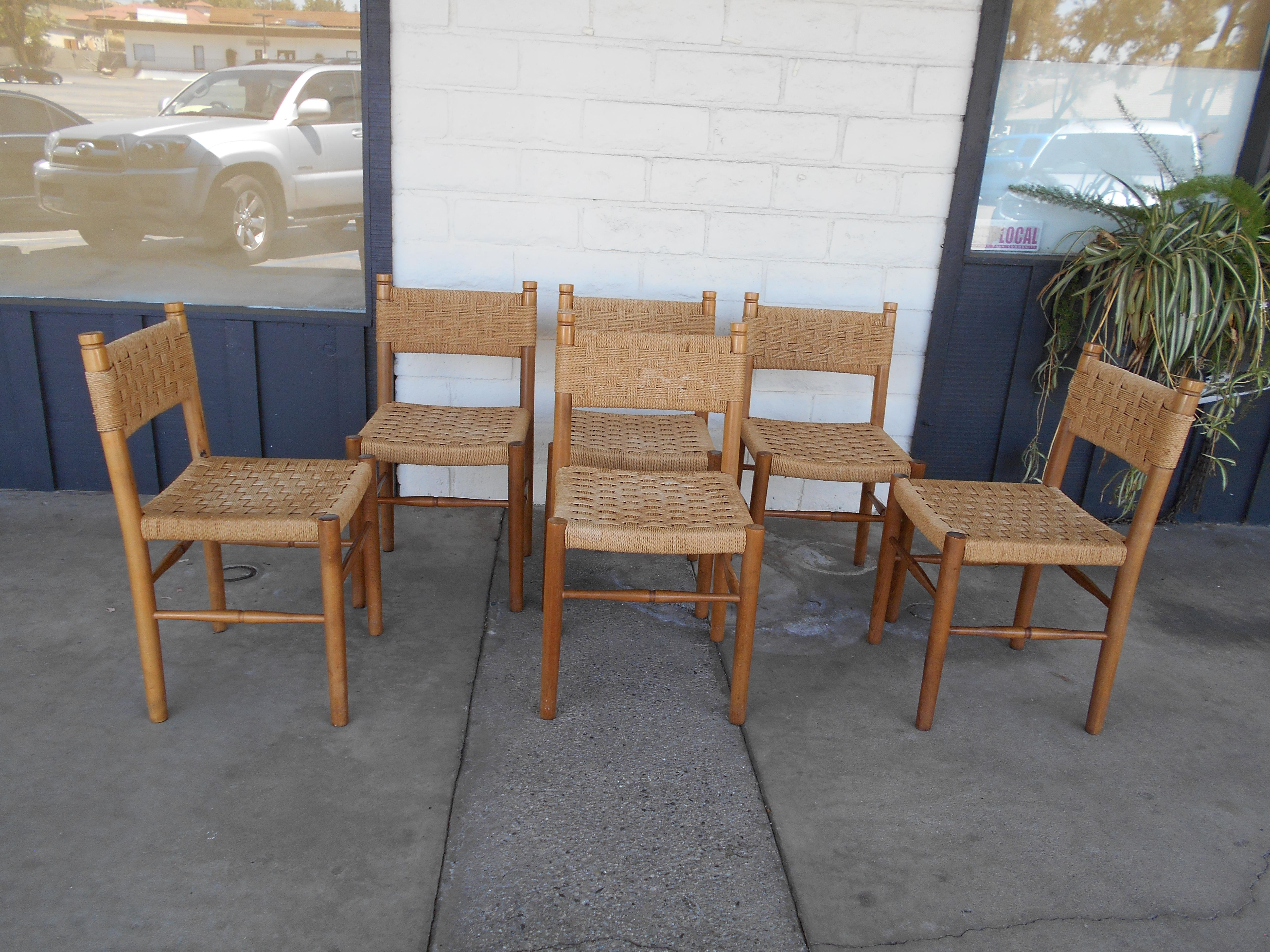 Well-known Italian Paper Cord Woven Seat Chairs - Set of 6   Chairish OG54