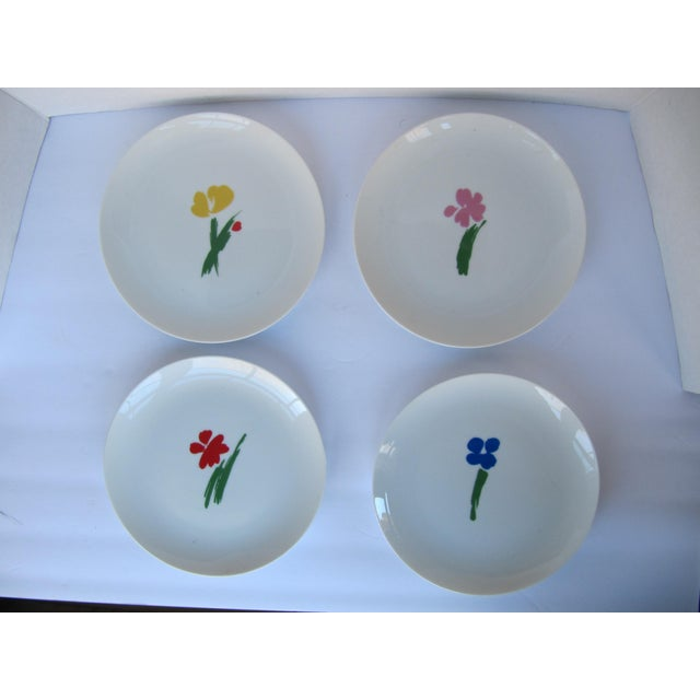 1990s Vintage Salad Plates With Flowers- 4 Pieces For Sale - Image 5 of 5