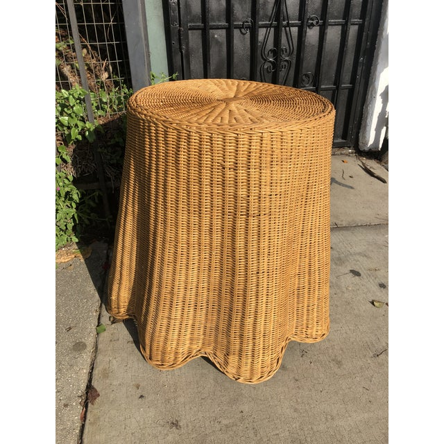 French Provincial 1970s Mid-Century Modern Trompe l'Oeil Rattan Ghost Side Table For Sale - Image 3 of 7