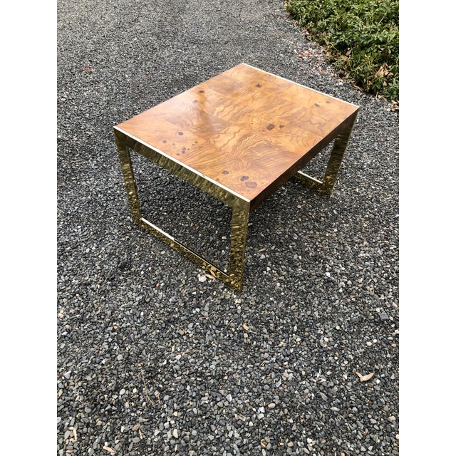 Mid-Century Modern 1970s Mid-Century Modern Olive Wood and Brass End Tables - a Pair For Sale - Image 3 of 13