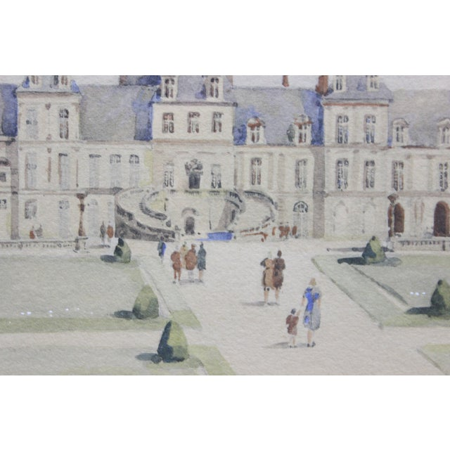 French Palais Gardens, Watercolor Painting For Sale - Image 3 of 4