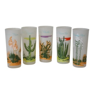 Vintage 1950's Blakely Frosted Tall Cactus Glasses - Set of 5 For Sale