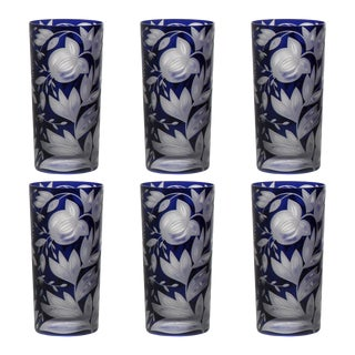 Verdure Highball Glasses, Set of 6, Ink For Sale