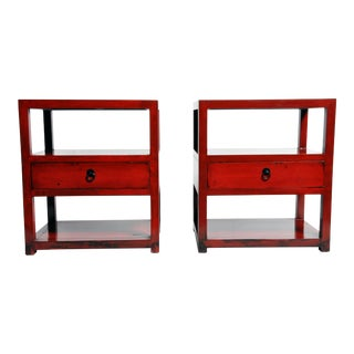 Pair of Red Lacquered Chinese Side Tables With a Drawer For Sale