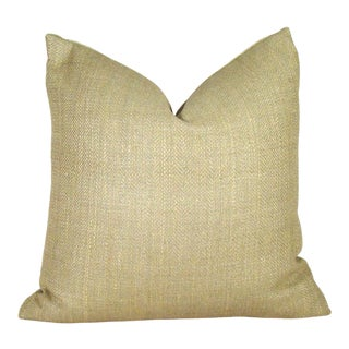 Boho Chic Khaki Herringbone Raw Silk Pillow Cover For Sale