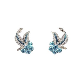 Boucher Phrygian Cap Rhodium Plate Faux-Aquamarine Earrings For Sale