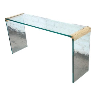 Leon Rosen for Pace Collection Glass and Gilt Bronze Waterfall Console Table For Sale