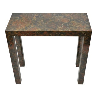 Vintage Hollywood Regency Faux Marble Flame Tortoise Shell Laminate Console Table For Sale