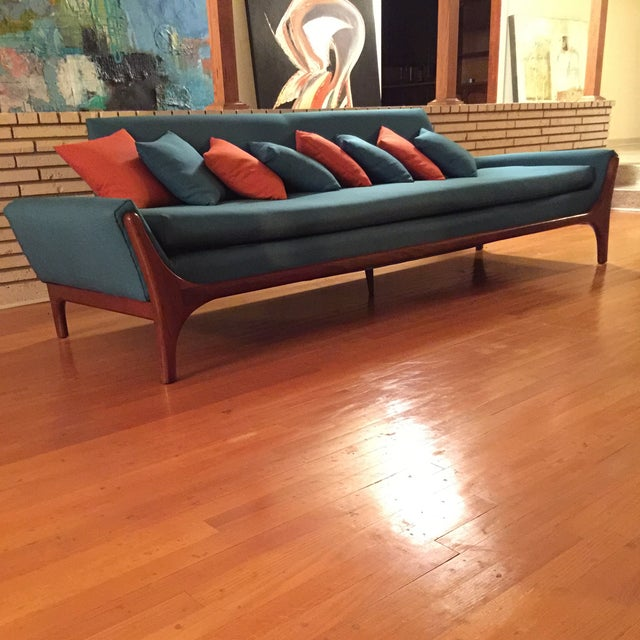 Reupholstered Danish Modern Wing Arm Sofa - Image 7 of 10