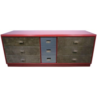 1970 Italian Green Leather Burgundy Lacquer Dresser With Mirror & Bronze Accents For Sale