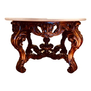 Kreiss Intricately Carved Walnut Round Monarch Centerpiece Table For Sale
