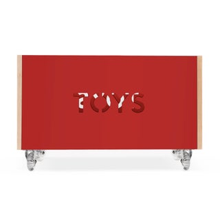 Toy Box Chest on Casters in Birch With Red Finish Preview