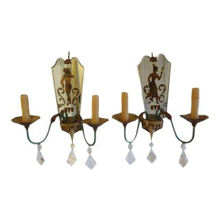 1940's French Maison Jansen Style Tole, Eglomise and Crystal Sconces-A Pair For Sale