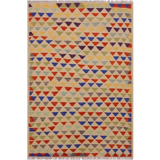 Contemporary Kilim Ara Ivory/Blue Hand-Woven Wool Rug -3'2 X 4'11 For Sale