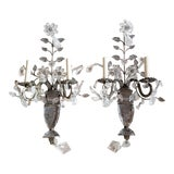 Image of Vintage Light Rock Crystal Floral Sconces - a Pair For Sale