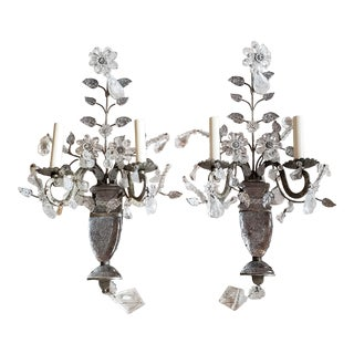 Vintage Light Rock Crystal Floral Sconces - a Pair For Sale