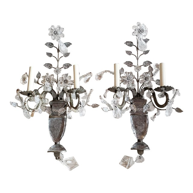 Vintage Light Rock Crystal Floral Sconces - a Pair For Sale