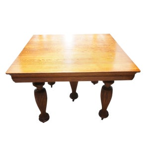 19th Century Victorian Solid Oak Dining Table