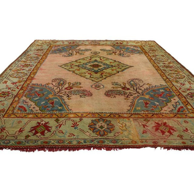 Contemporary Antique Turkish Oushak Rug with Modern Style For Sale - Image 3 of 7