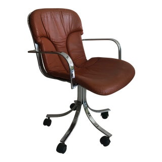 Willy Rizzo for Cidue Mid-Century Leather Swivel Chair