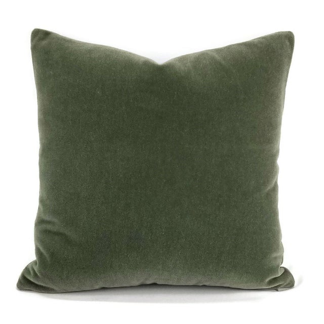 Textile F. Schumacher San Carlo Mohair Velvet in Moss Pillow Cover For Sale - Image 7 of 7