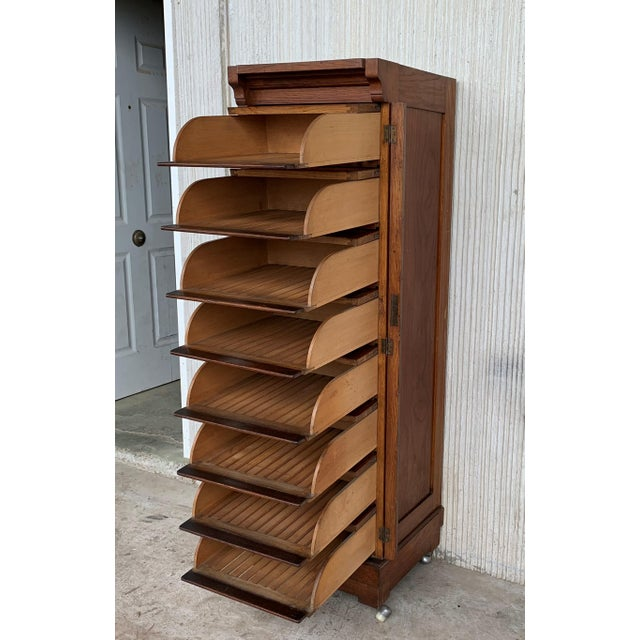 1940s Art Deco Filing Cabinet With Eight Sliding Drawers and Wheels For Sale - Image 5 of 9
