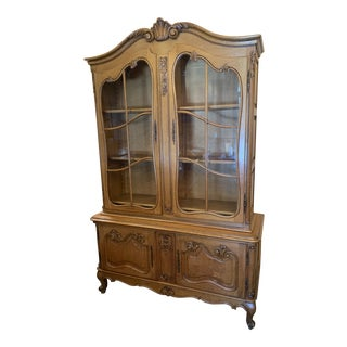 French Oak Two-Piece China Cabinet For Sale