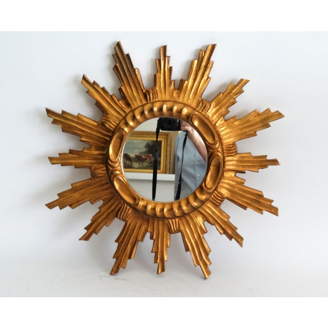 Giltwood Mid Century French Giltwood Sunburst Mirror For Sale - Image 7 of 7